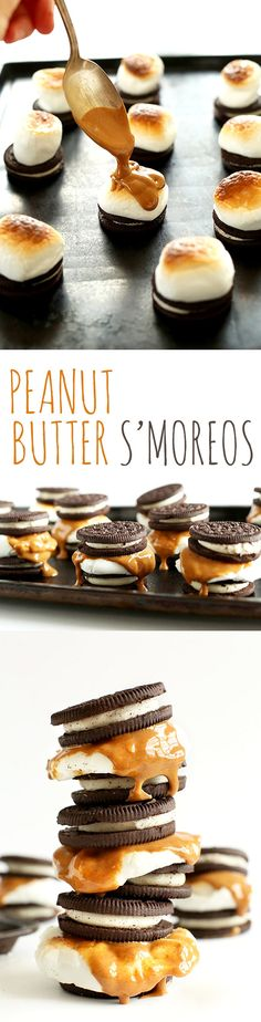 OVEN-FRIENDLY 3-ingredient Peanut Butter S'MOREOS. So delicious, and SO simple! #vegan friendly