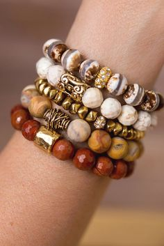 Add a touch of natur  Add a touch of nature to any outfit with this unique stack of beaded bracelet designed and handmade in the South featuring semi-precious gemstones and gold accents. Each stack is carefully put togethe