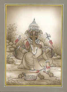 Sri Ganesh Ganesha Miniature Painting Handmade India Hindu Religion Paper Art