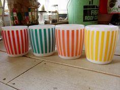 Hazel Atlas striped mugs