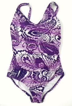 Speedo One Piece Swimsuit Women's 6 Purple Floral Stripes Side Rouching  | eBay