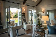 Architectural design - french doors leading from family room to patio or deck.
