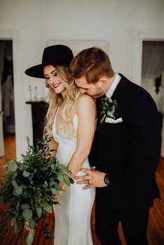 Our Intimate Courthouse Wedding | Greenery Bouquet & Black Bridal Hat | Miranda Schroeder Blog | www.mirandaschroeder.com