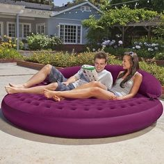 Inflatable Mattress Air Bed Lounge Daybed Outdoor Sofa Round Poolside Back Rest in Home & Garden, Yard, Garden & Outdoor Living, Patio & Garden Furniture