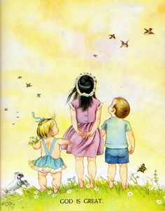 """Golden Book About God, Eloise Wilkin, 1956- Meadow from """"My Little Golden Book About God"""", Little Golden Book, 1956/1975 by Jane Werner Watson Illustrations by Eloise Wilkin"""