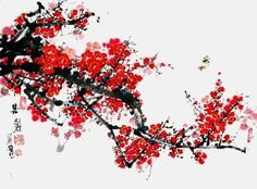 (North Korea) Red plum blossoms of spring, 2003 by Lee Hwa-sik ). brush watercolor on paper. Chinese Cherry Blossom, Cherry Tree, Chinese Painting Flowers, Red Plum, Doodle Sketch, Japan Art, North Korea, Blossoms, Oriental