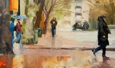 Walking in the Rain Seattle city, urban oil painting by Robin Weiss, painting by artist Robin Weiss