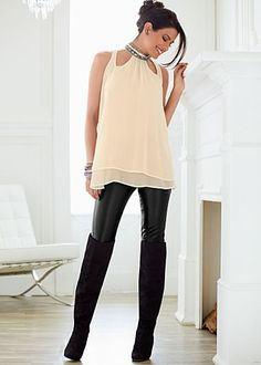 Cut out studded blouse, faux leather legging, over-the-knee-boots
