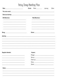 GIRL SCOUT DAISY TROOP MEETING PLAN - TeachersPayTeachers.com