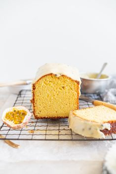 This passionfruit loaf cake has floral olive oil and a perfect texture from greek yogurt, and is brushed with a passionfruit syrup and finished with a passionfruit icing Beaux Desserts, Sweet Desserts, Olive Oil Cake, Vanilla Greek Yogurt, Loaf Cake, Pound Cake, Almond Recipes, Savoury Recipes, Vegetarian Recipes