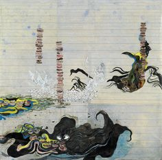 Untitled, 2006  Oil, ink and paper on linen  61 x 61 cm / 24 x 24 in  by Ellen Gallagher