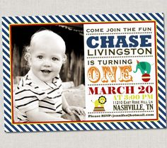 Circus Birthday Invitation by announcingyou on Etsy, $15.00