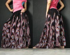 Purple New Peacock Art Boho Cotton Long Maxi Skirt - MyParadise - Circle Skirts
