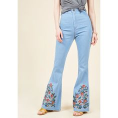 Floral I Know Flared Jeans ($90) ❤ liked on Polyvore featuring jeans, apparel, bottoms, denim pant, flare denim pant, varies, high waisted flare jeans, high waisted blue jeans, flared jeans and high-waisted bell bottoms