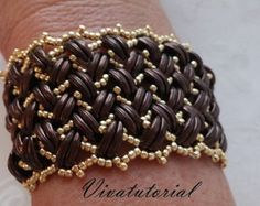 Tutorial Belmont Bracelet Herringbone by Vivatutorial on Etsy