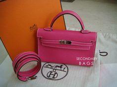(BNIB) Hermès Tiny Kelly Rose Tyren Epsom phw #O size: 14 x 9cm