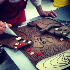 Putting the final touches on this year's Valentine's Day chocolate sculpture