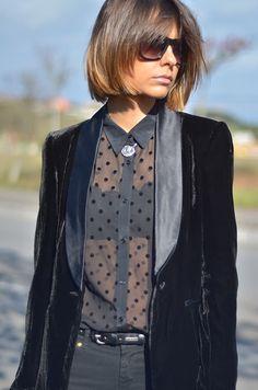 sheer black blouse + polka dots