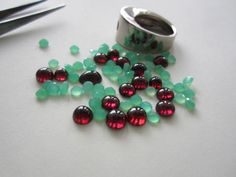 Garnet cabochons and chrysoprase faceted, ring silver