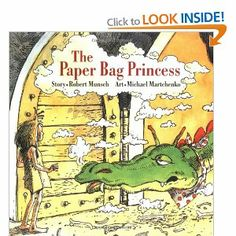 Great for inference...Elizabeth, a beautiful princess, lives in a castle and wears fancy clothes. Just when she is about to marry Prince Ronald, a dragon smashes her castle, burns her clothes with his fiery breath, and prince-naps her dear Ronald. Undaunted and presumably unclad, she dons a large paper bag and sets off to find the dragon and her cherished prince.