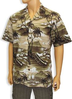 Men Tropical Cotton Shirt with Diamond Tiki Design Tribal Shirt, Island Shirts, Aloha Shirt, Beach Photos, Master Class, Curvy, Men Casual, Tropical, Mens Tops