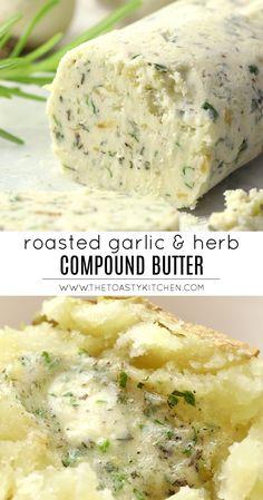 Flavored Butter, Homemade Butter, Garlic Herb Butter, Roasted Garlic Butter Recipe, Herb Butter For Steak, Honey Butter, Ma Baker, Dips, Appetizer Recipes