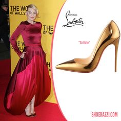 Margot Robbie in Christian Louboutin So Kate Mirrored Bronze Leather Pointed-Toe Pumps - ShoeRazzi