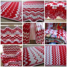 """The Many Faces of """"Candy Cane""""!  I decided to stop at the simple border/edging on my latest Christmas crocheted throw """"Candy Cane"""".    So, """"Candy Cane"""" is all finished."""