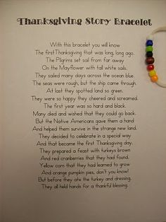 Thanksgiving poem and bracelet