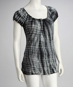 Take a look at this Black & White Tie-Dye Peasant Top - Women by Erge on #zulily today!