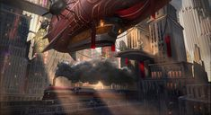 dirigible by sheer-madness on DeviantArt | Digital Art / Drawings & Paintings / Landscapes & Scenery | Retro-Futuristic Dirigibles Airships Zeppelin Train Steampunk City Metropolis