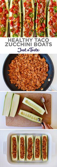 Healthy Taco Zucchini Boats recipe from justataste.com #healthy #recipe
