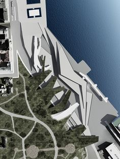 This project must be read in a topographic key. The land falls gently towards the sea and the folds of its section are generated by adapting the different uses requested by the program: the theater with tiers that dominate the water, the walk . Concept Architecture, School Architecture, Landscape Architecture, Architecture Design, Architecture Diagrams, Architecture Portfolio, Urban Landscape, Landscape Design, Public Library Design