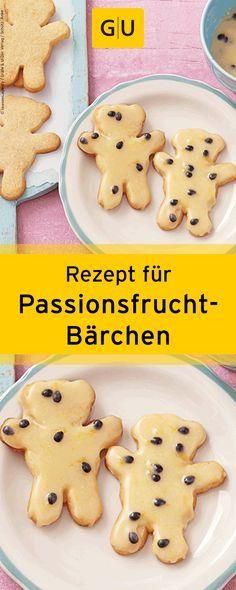 """Rezept für süße Passionsfrucht-Bärchen aus dem Buch """"Weihnachtsplätzchen - Himmlisch lecker und bezaubernd süß"""". ⎜GU http://www.gu.de/media/media/114/51593687080407/9783833834349_leseprobe.pdf"""