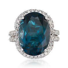 Ross-Simons - Carat London Blue Topaz and ct. Diamond Ring In White Gold.I love the London Blue color! Blue Gemstones, Topaz Gemstone, Gemstone Jewelry, Gold Jewelry, Jewellery, Jewelry Box, Fine Jewelry, Discount Jewelry, London Blue Topaz