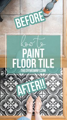 Zen Room Decor How to paint floor tile with a stencil. Amazing DIY faux cement tile look! Room Decor How to paint floor tile with a stencil. Amazing DIY faux cement tile look! Painting Ceramic Tile Floor, Stenciled Tile Floor, Painting Bathroom Tiles, Tile Floor Diy, Painting Tile Floors, Bathroom Floor Tiles, Painted Floors, Stencil Painting, Painted Tiles