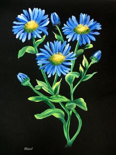 One Stroke Blue Daisy.Painted by Hazel Lynn.