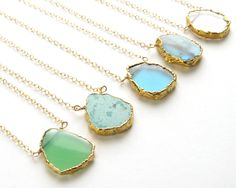 Gemstone Slice Necklace Organic Shaped Slice in Gold vermeil Simple Gemstone Jewelry Gold Edge Stone Layering Necklace #Etsy #Share #EtsyShop Shared by #BaliTribalJewelry http://etsy.me/1sDZ302