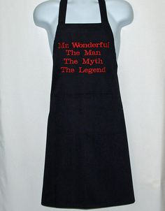 Mr. Wonderful Apron Man Myth Legend Custom Personalize Great Gifts For Dad, Gifts For Boss, Gifts For Him, Christmas Gift Inspiration, Personalized Birthday Gifts, Handmade Shop, Etsy Handmade, Handmade Gifts, Sewing Studio