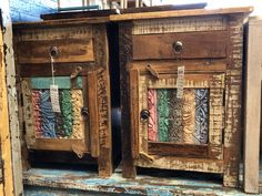 Made from solid reclaimed wood. Rustic Wood Furniture, Wood End Tables, Online Furniture Stores, Solid Wood, Vibrant, Carving, Boho, Unique, Design