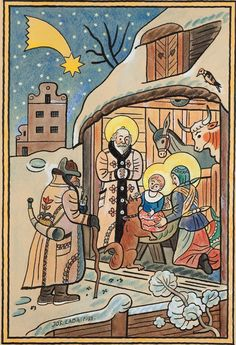 České Vánoce by Josef Lada Christmas Manger, Christmas Art, Christmas And New Year, Vintage Christmas, Christmas Card Images, Christmas Scenes, Tadao Ando, Comic Styles, Old Postcards