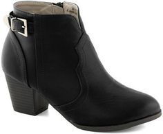 ModCloth Garage Band Together Bootie: With the Battle the Bands coming up, you and your four-piece buckle down and prepare a set as unabashedly rad as your signature black booties. Low-heeled and ankle-high, these Western-influenced shoes echo your edgy yet uncomplicated aesthetic. Whether you're practicing in the garage in skinnies and a denim jacket, or taking your talents public in a mini skirt, cropped tee, and bandana headband, your outfit will be a hit with help from this vegan faux...