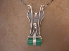 Art Deco silver necklace.  With green onyx cylinder.
