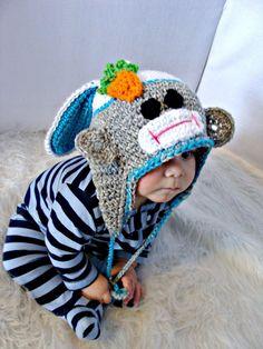 Easter Bunny Sock Monkey Hat Crochet Pattern by SandysCapeCodOrig, $4.95