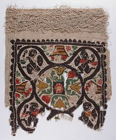 Panel  Date: 4th–5th century Geography: Egypt Medium: Linen, wool; tapestry weave, looped embroidery Dimensions: H. 14 1/4 in. (36.2 cm) W. 11 3/4 in. (29.8 cm)