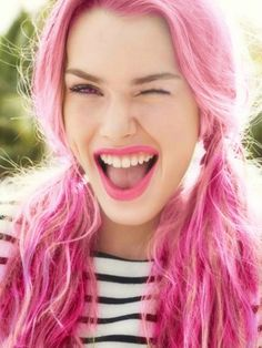I would so have pink hair if it were appropriate for work and being 43 because I love pink that much!!