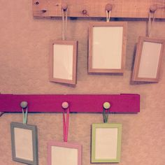 Ribbons-hung picture frames with palette...