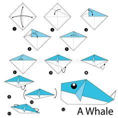 Instructions étape-par-étape Comment Faire à Origami Une Baleine Illustration de Vecteur - Image: 67138929