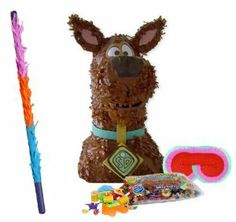 """Scooby Doo 3D Pull String Pinata Party Pack Including Pinata, Pinata Candy and Toy Filler, Buster and Blindfold by Pinata. $56.50. Pinata is in the shape of Scooby Doo and measures approximately 10"""" wide x 16.75"""" high x 11"""" deep. Includes approximately 2 pounds of Candy and Toys. Caution: not recommended for children under 3 years of age. Includes one hard Plastic Pinata Buster that measures approximately 30"""". Caution: use only under adult supervision. Includes one Bli..."""