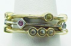 14K Yellow /White Gold 3 Bands Multi Color Sapphire Set